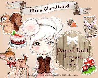 Miss Woodland - INSTANT DOWNLOAD Printable Paper Doll&envelope