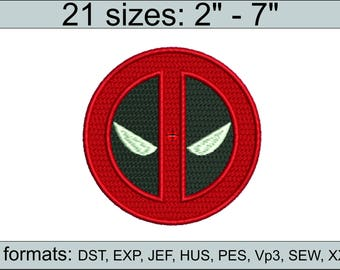 Deadpool embroidery design logo  Deadpool Logo Machine Embroidery esigns - Instant Download