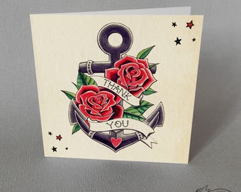 Anchor Tattoo Thank You Card Wedding Traditional Vintage Rockabilly Old School Tattoo Flash