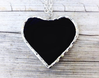 Black pendant, gothic jewelry, black heart, black silver pendant, glass heart jewelry, black glass gift, black heart necklace, partner gift