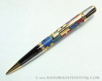 AUTISM AWARENESS Puzzle pen (#11) - wood inlayed in Black Titanium/Titanium Gold Sierra style pen