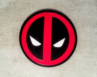 Deadpool Logo Coaster | Set of 1, 2, or 4 | 3D Printed | Cork Backed