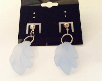 blue earrings, translucent earrings, soft blue jewelry, pierced pale blue earrings, OOAK original, Made in US, gift idea, JeriAielloartstore