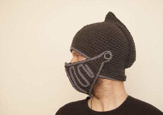 dark knight crochet helmet boyfriend gift handmade knight