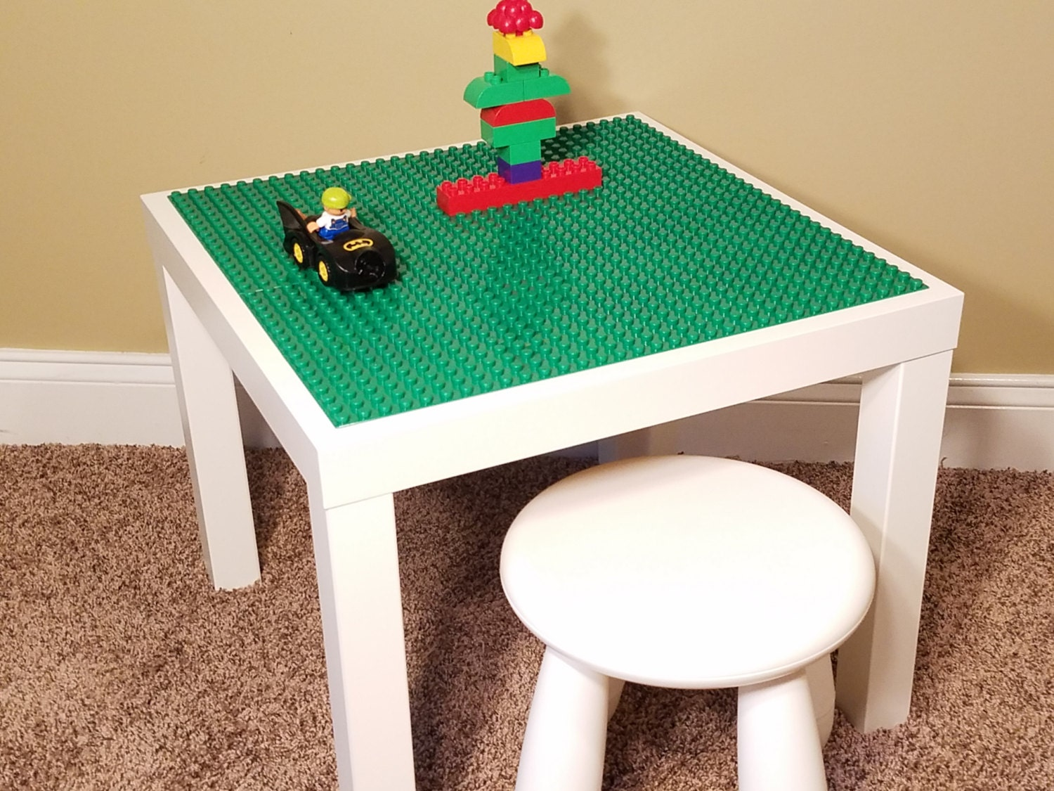 Kids Lego Duplo Compatible /Brick Building White Table with 1