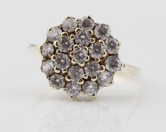Beautiful 1980s Clear Cut CZ Round 9ct Gold Cluster Ladies Ring Size UK M 1/2 and US 6.50