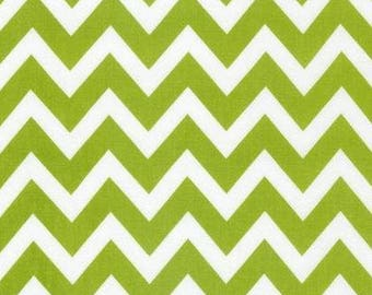 Chevron Lime Green Remix Fabric - Pink and Green Chevron - Robert Kaufman - 1 Yard