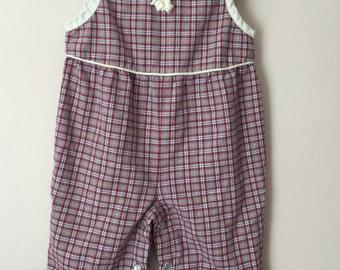 Vintage Baby Girls Plaid Cotton Bodysuit Jumper Pants Size 6-9 Months
