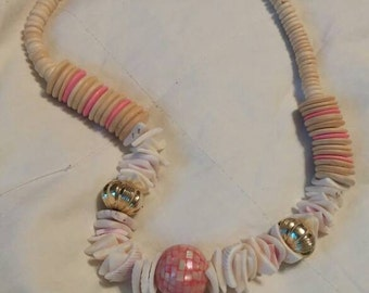 On Sale Tan and Pink Bead  Bulky Island Style Long 22 inch Shell Necklace Island Style Fashion Accessory Costume Jewelry