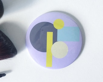 Purple Abstract Print Pocket Mirror- Small Mirror, Handbag Mirror, Stocking Filler, Small Gift