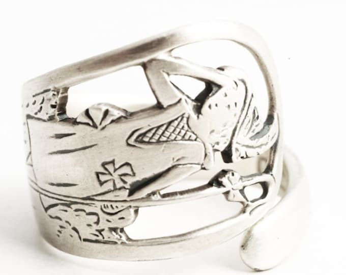 Little Bo Peep Ring, Nursery Rhyme, Antique Sterling Silver Spoon Ring, Watson ca. 1910, Handmade Gift for Her, Adjustable Ring Size (6304)