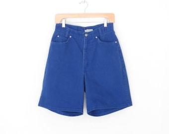 vintage jean shorts * 80s colored denim shorts * highwaist shorts * five pocket jeans * royal blue * large
