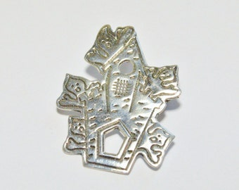 Vintage Sterling Silver Haunted House Ghost Halloween Style Pin Taxco Signed