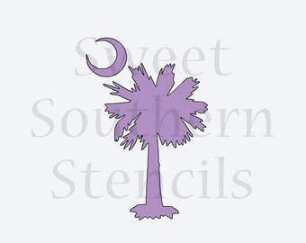 SC Palmetto Tree and Moon Stencil