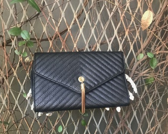 Black and Gold Tassel Clutch with gold chain