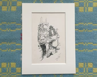 Ernest H Shepard illustration - Child in Market Square - Rescued Page from a 1940s Children's Book - Mounted Ready for Framing