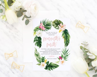 Printable Bridal Shower Invitation / Whimsical Wreath, Tropical Invite, Wedding Shower - Avery