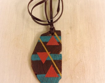 Geometric painted wood pendant with adjustable leather cord