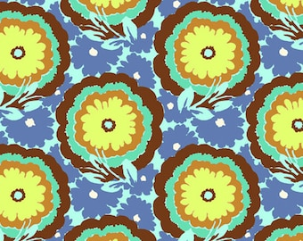 Amy Butler soul blossom butter cup cyan spearmint 0,5 m pure Cotton fabric flowers