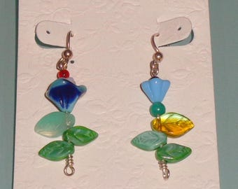 Earrings Czech Glass Flowers Cute Dangle Sterling Silver Wire and Lever Back Frames