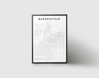 Bakersfield Map Print