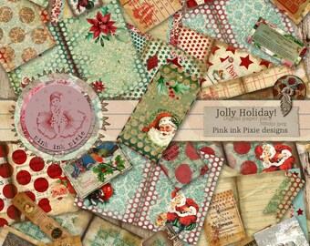 JOLLY HOLIDAY! Printable journal kit, junk journal, instant download. Scrapbooking, digital papers,decoupage, mixed media!