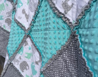 Rag Patchwork Quilt -Handmade with Flannel of Elephants & Girafees, Gray Polka Dots and Aqua and Gray Minky; Baby Crib Blanket; Throw Quilt