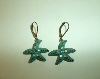 Vintage 1960s  Turquoise Rhinestone Starfish Earrings