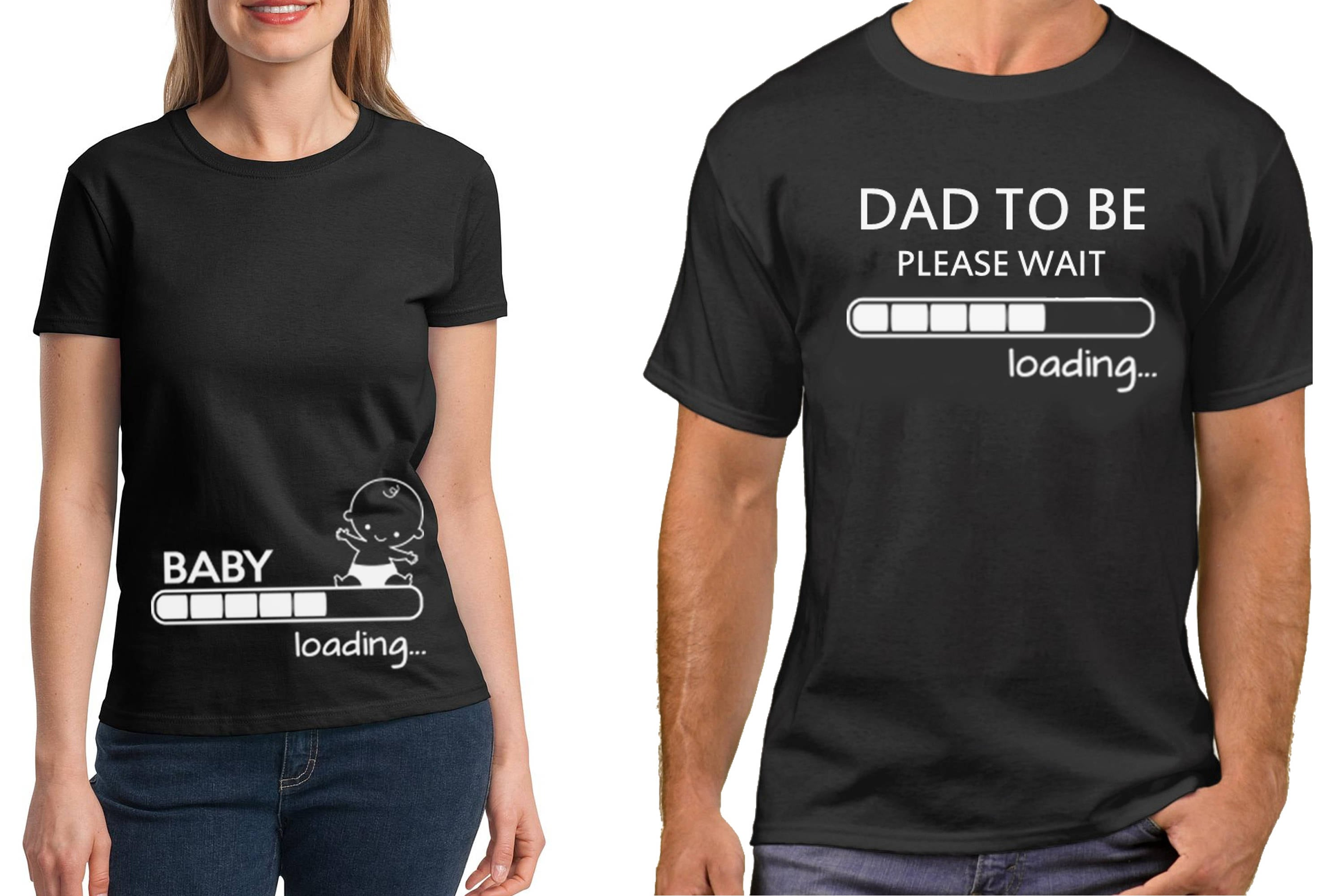 Pregnancy funny couple t shirts baby loading dad to be for Baby custom t shirts