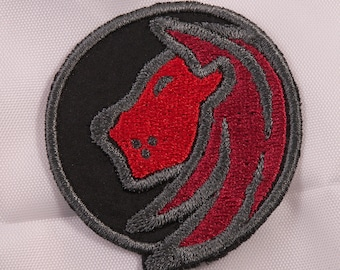 Embroidered Horoscope Astrology Red & Black Leo Lion Sign Patch Applique Iron On Sew On USA