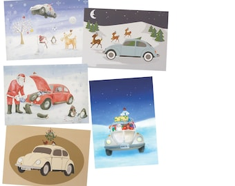 VW beetle Christmas Cards, mixed pack of 10 cards