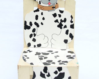 Vintage Dalmation Shaped and Painted Chair - World Bazaars Inc, Canine, Child's Room, Child's Playroom, Black and White Spots (WTH-1244)