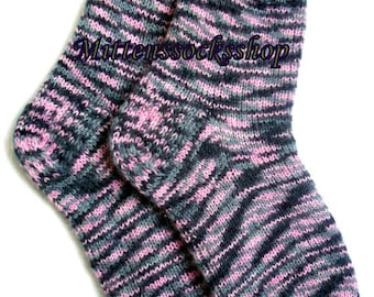 Purple Gray Black Socks Hand Knitted Very Warm Socks from Melange Colors Angora Wool Sleeping Socks Women's Socks Girl's Socks Men's Socks