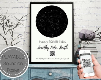 Personalized Star Map w/ Playable Sound - Night Sky Map Poster Celestial First Anniversary Gift Chart Constellation Wedding Digital Romantic