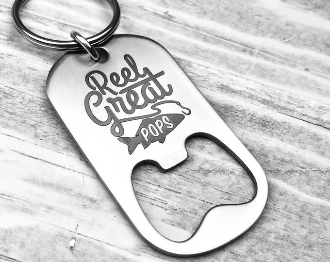 Reel Great Pops Bottle Opener Key Chain , Gift for grandpa, fisherman grandpa, fishing buddy gift, reel great, grandfather gift