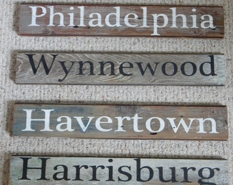Reclaimed barn wood custom city sign