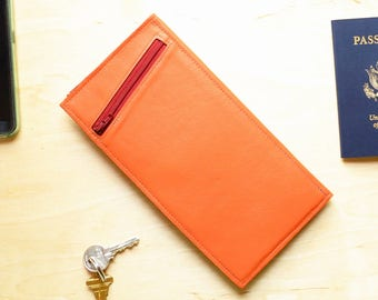 Leather Clutch Wallet Organizer Woman, Passport Carrier Purse, Slim Travel Doc Holder, Unique Gift Idea for Her - The Stella in Tangerine