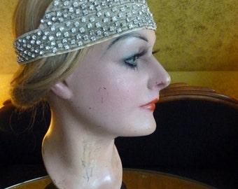 1920s Original (!) Rhinestone Bandeau Headdress, Head Dress, Headpice, antique, 1920s