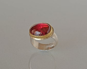 Large Pink Tourmaline Ring, Gold and Sterling Silver, Rubellite Tourmaline Cocktail Ring, Natural Tourmaline Statement Ring, Made to Order