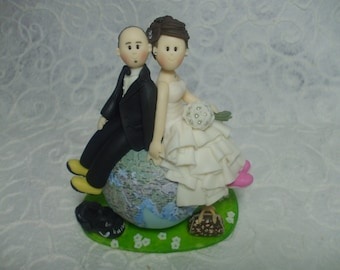 Custom bride and groom  travel wedding cake topper