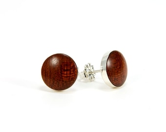 Wood Stud Earrings Wood Post Earrings Bloodwood Silver Stud Earrings 10mm, 8mm 5th Anniversary Gift Gift For Her Gift For Him