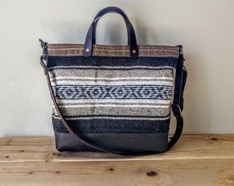 Mexican Blanket Bag  with Leather Bottom and Canvas Accents.