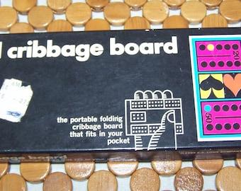 Vintage 1969 Lowe Travel Cribbage Board Game