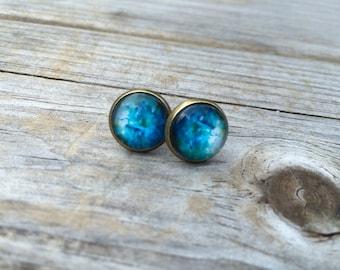 Blue Galaxy earrings, stud earrings, space stud earrings, cabochon earrings, 12mm earrings