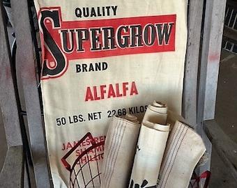Vintage 50s Reneau's Supergrow Brand seed bag, sack, fabric linen sack, feed bag