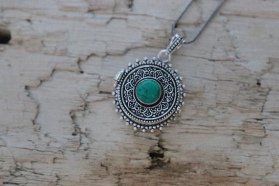 TURQUOISE PILL BOX - Silver plated Necklace - Mantra Box - Crystal - Gemstone - Stash box - Festival - Perfume box - Keepsake Jewellery