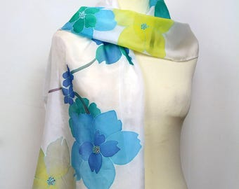 Hand painted silk scarf. Blue and yellow floral silk scarf. Silk foulard. Wearable art hand painted to order.