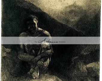 Printable Art Instant Download - Shadow Man Sits in Shadow of Rock Antique Art Image - Paper Crafts Scrapbook Altered Art - Dark Fine Art