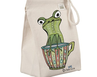 Organic recycled cotton lunch bag. Reusable Lunch sack. Abstract Frog lunch container. Eco bag. Sustainable homegoods. Eco friendly gifts