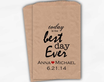 Best Day Ever Wedding Candy Buffet Treat Bags - Personalized Kraft Paper Favor Bags with Names and Wedding Date - Custom Paper Bags (0028)
